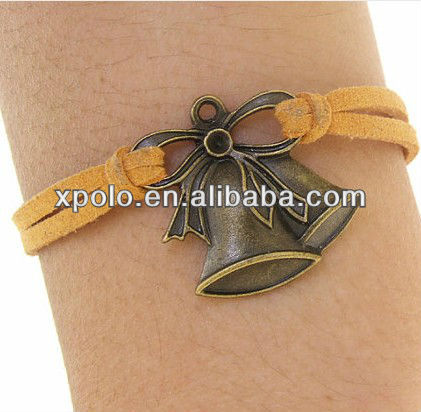 fashion bronze christmas bells with imitation leather bracelet charm