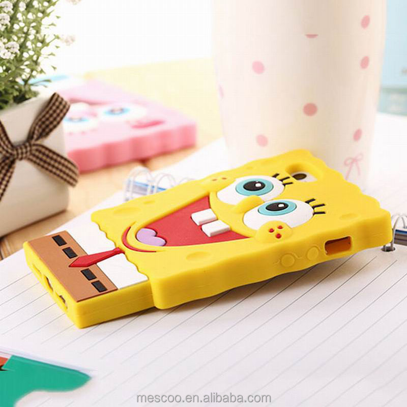 3D Cartoon SpongeBob Soft Silicon Phone Back Cover Phone Case For Iphone 4S / 5S / 6 / 6S / 6Plus / 6S Plus