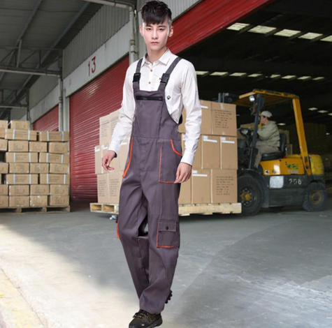 2016 Men's clothing clothes bib pants uniform pure polyester cotton wear-resistant one piece work wear loose big pocket