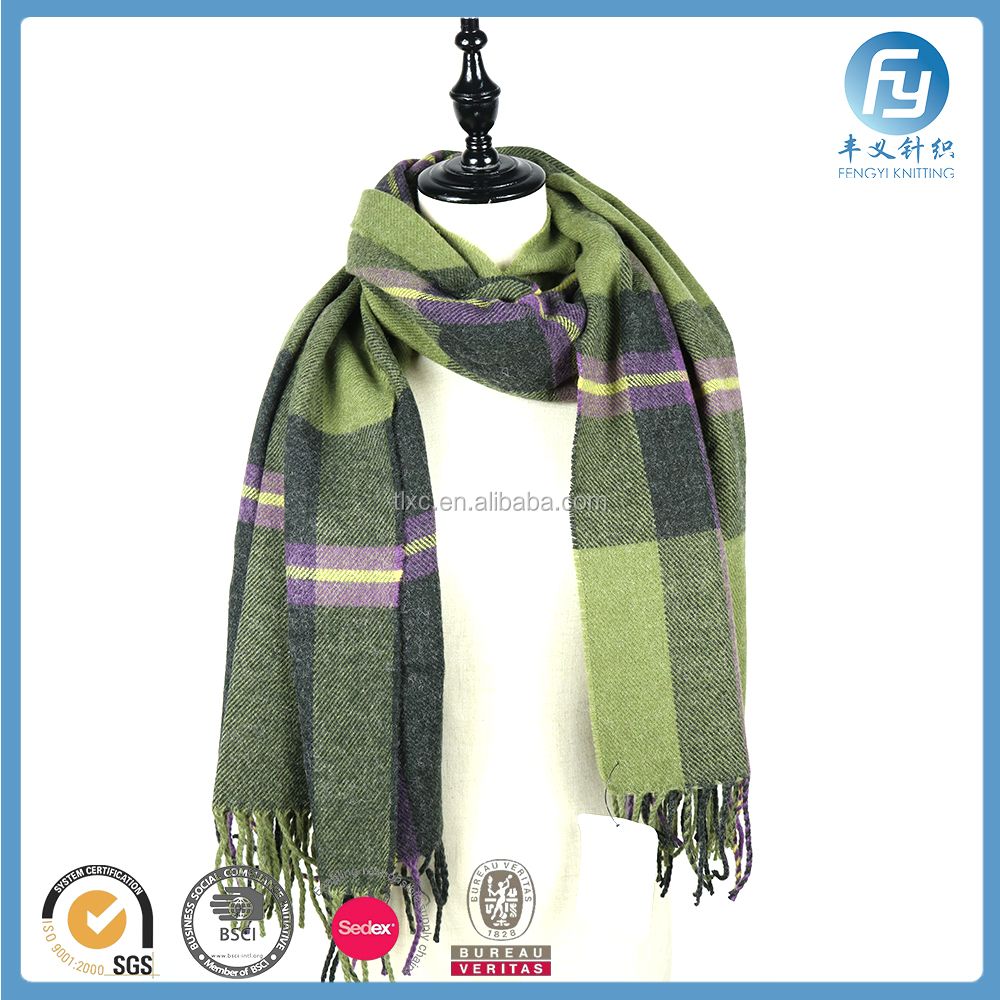 advertising woven acrylic tartan shawl scarf cashmere wool moven plaid shawl