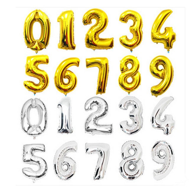 wedding wedding supplies wholesale 16-inch digital aluminum balloons birthday party party decoration foil balloon