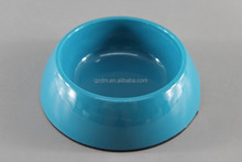 Blue Melamine Dog Bowl Plastic Pet Bowl With Rubber Ring