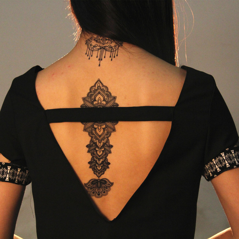J001-j045b Wholesale Black Lace Tattoos Temporary Water