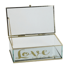 Vintage Style Brass Metal & Clear Glass Jewelry Box with Hinged Top Lid and Love Printing