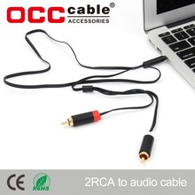 2 Rca audio cable for android car audio system for car audio player