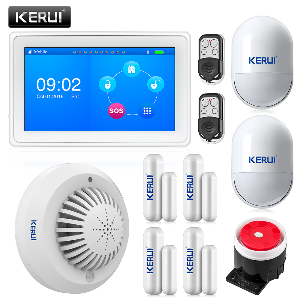 Kerui touch-screen 7 Inch TFT Color Display WIFI GSM Alarm System Home Security