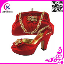 2016 hot selling italian women shoes and matching bag for the wedding and party CSB-444