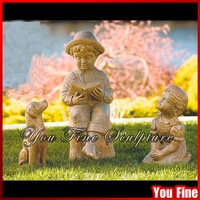 Bronze Children With Dog Statue For Garden Decoration