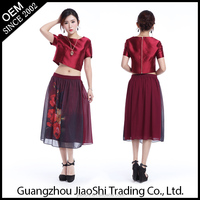 New designer fashion formal two piece sexy wine red color lady dress for women wholesale