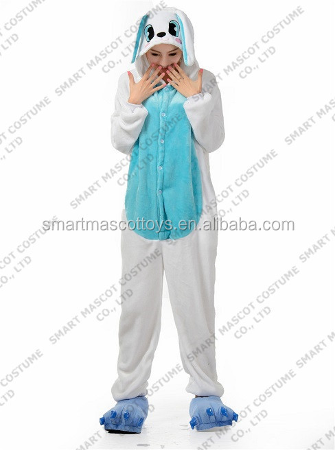 Top quality warm flannel adults blue rabbit onesie