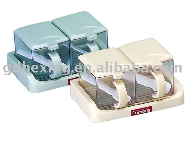 salt condiment dispenser 2 compartments container