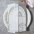 Garden Gate Silver Glitter Laser Cut Invitations