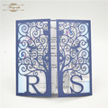 Navy blue laser cut customized initials wedding card invitations