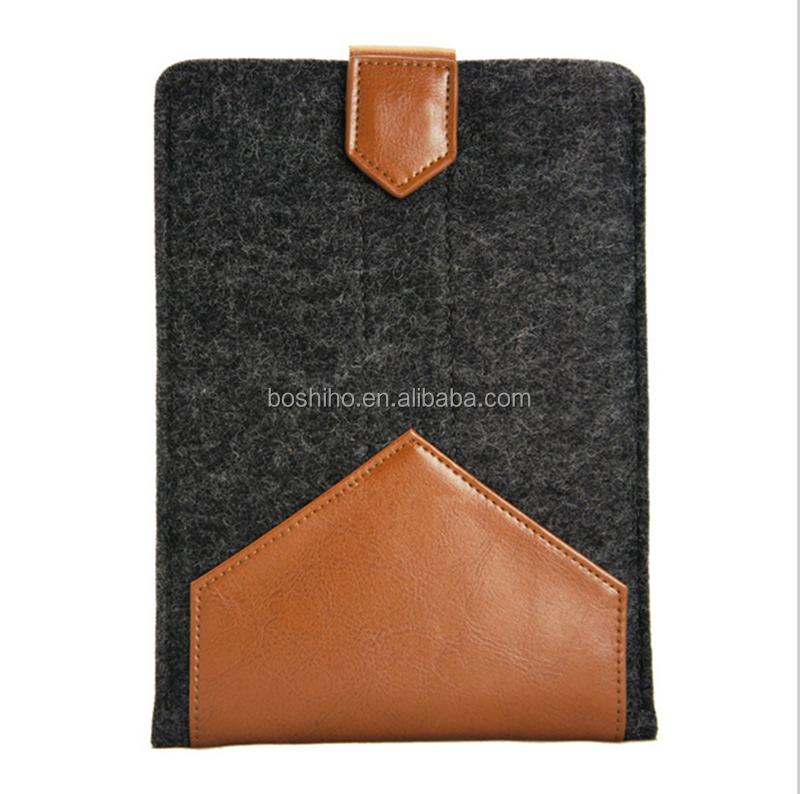 "Boshiho Newest Design luxury leather&woolfelt sleeve case for iPad air 2 case ,for Apple 9.7"" inch tablet"