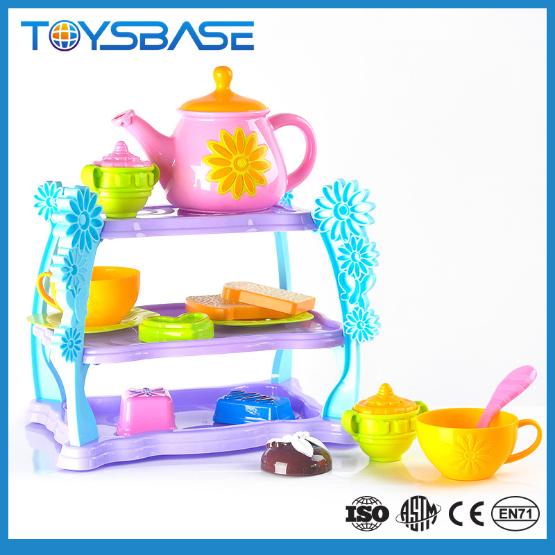 Kids plastic toy teapot cart tea set toy for sale