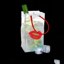 Lovely design plastic wine pvc beer ice bag with red handle