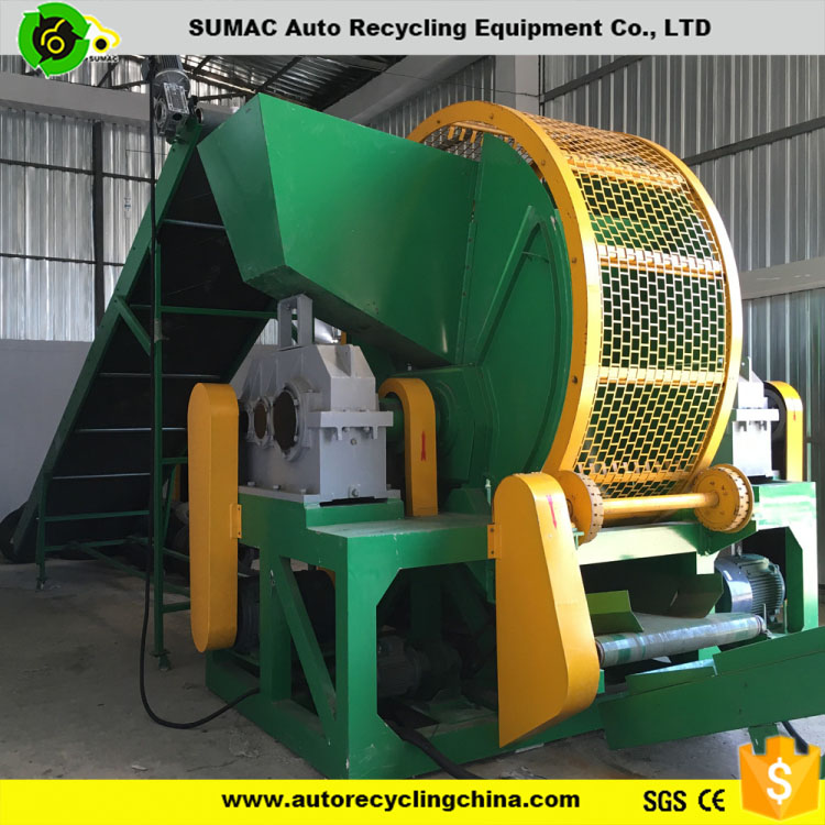 High output used rubber tire shredder machine