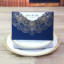 Low Price Cheap Laser Cut Wedding Invitations With Blue Design, JR1014