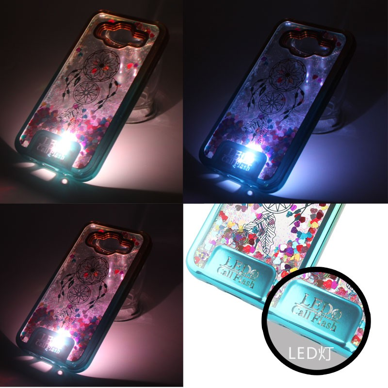 Electroplate Frame Laser Carving TPU Flash Star Liquid Quicksand Case For Samsung galaxy J5(2017) LED call flash Case