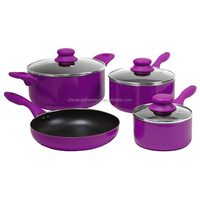 7pcs purple non-stick coating non-stick metal cookware as seen on tv