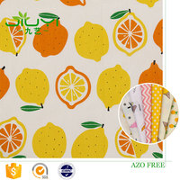 High quality fashion 100% cotton poplin fabric construction,lemon print dress shirt making fabric