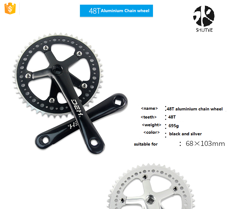 Fixed Gear Bicycle Crankset 46T Alloy Bicycle Chainring Cranks for Bicycle Chainwheel