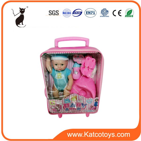 Cute new real soft plastic baby doll suitcase kit