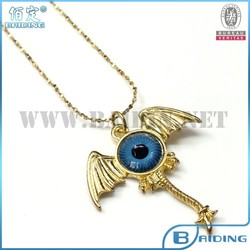 18k gold plate animal pendant with evil eye bead necklace for men