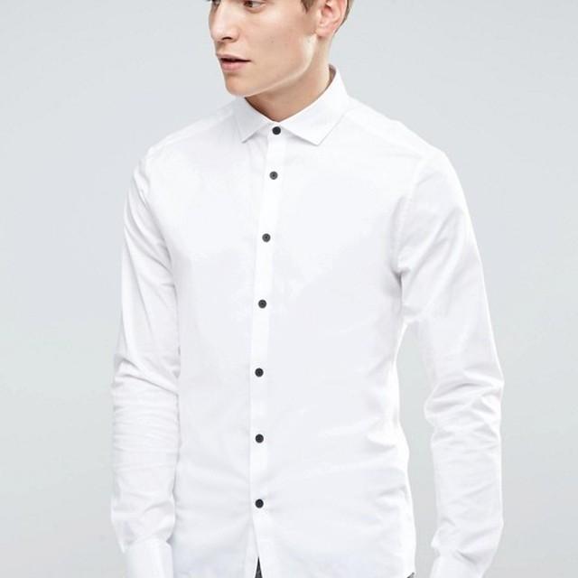 Promotional Custom Spandex Cotton Long Sleeve Men's Fashion Slim Size White Uniform White Office Dress Shirts