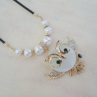 New design fashion cute style opal owl pearls crystal jewelry necklace for women