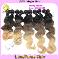 Hot selling beautiful Brazilian ombre body wave hair two tone braiding hair