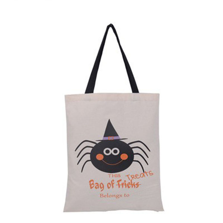 Hand Held Cotton Pumpkin Spider Trick Treat Halloween Gift Sack Candy Bag