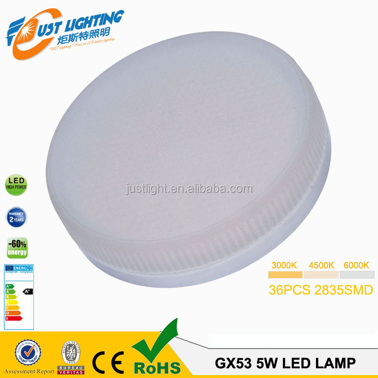CE RoHS approval dimmable 5w 400lm gx53 led ceiling lamp