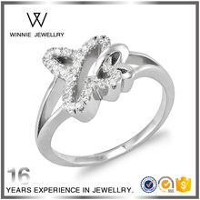 fashion design butterfly shape 925 silver ring ladie's sterling silver jewelry with cz diamond-RC0824342257