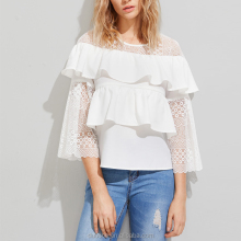 blouses 2017 new designs elegant lace crochet ladies blouse and tops open hot sexy girl photo chiffon blouse women top