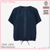 Ladies' fashion cotton poplin short sleeves pleated at front elastan at bottom direct manufacturer tailoring blouse cutting