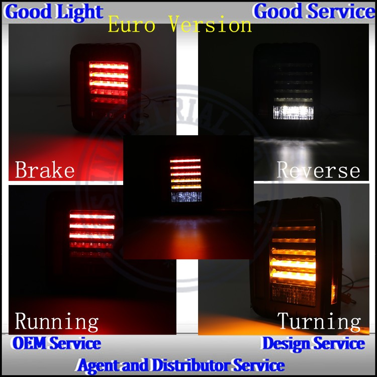 2016 Multifunctional bulbs aurora led tail light 12v/24v DC led rear light for J-eep wrangler