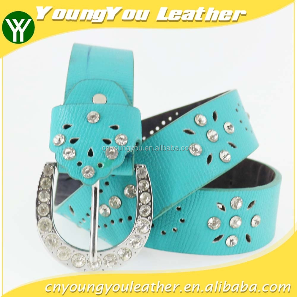 New Women fashion pu leather rhinestone belt with shiny silver rhinestone buckles in yiwu