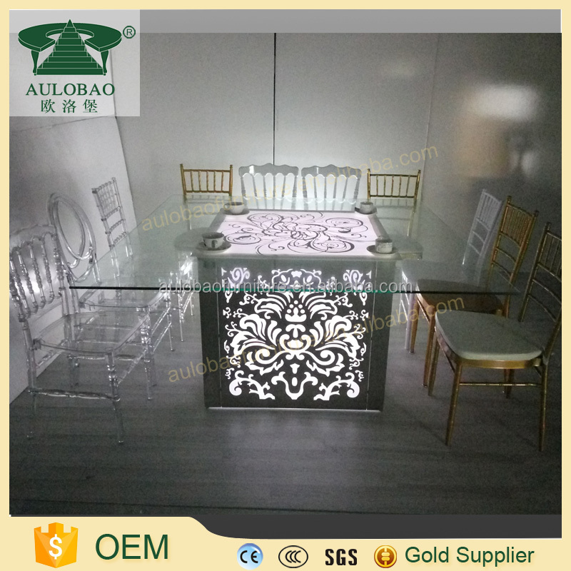 Hot sale fancy glass top led base dining table/table bases for glass dining tops