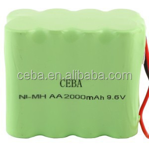 nimh 9.6V 12V battery pack AA 2000mah