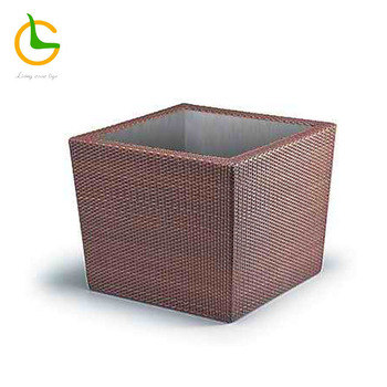 High quality square Factory Direct Wholesale rattan woven plastic flower pot