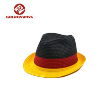 Black red yellow color matching paper straw braid fedora hats german hat