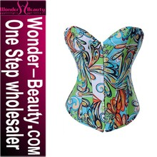 hot sale neck corset with fashon print