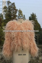 2012 top fashion genuine long ostrich feather fur coat orange