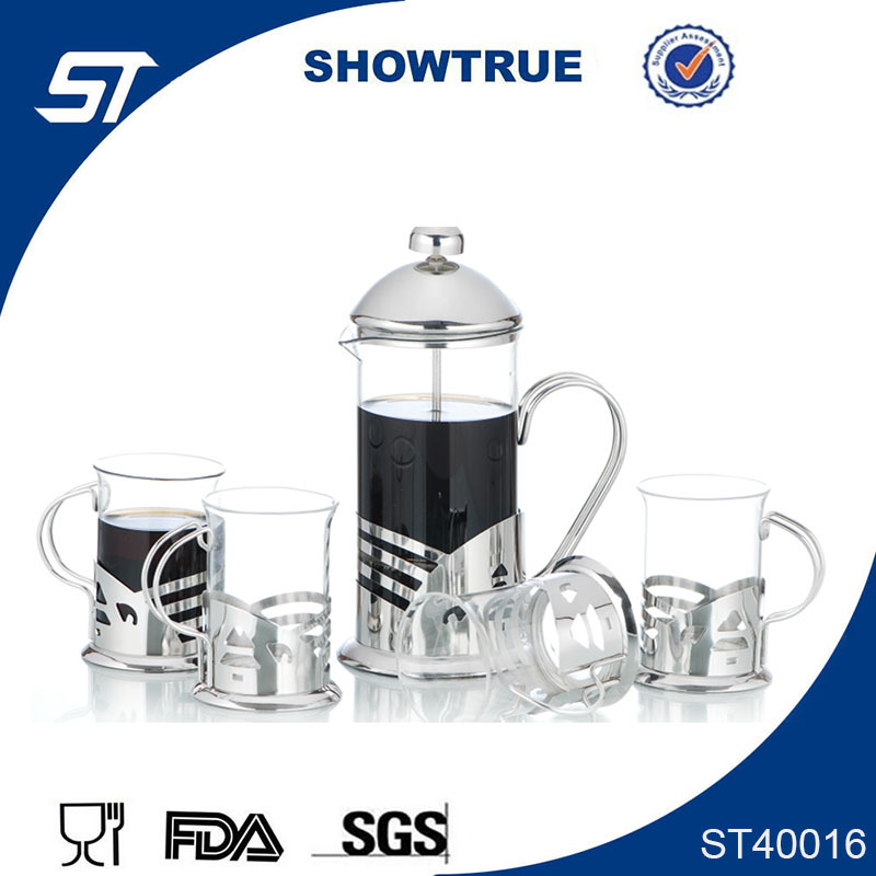 201 SS+ pyrex glass french press coffee maker