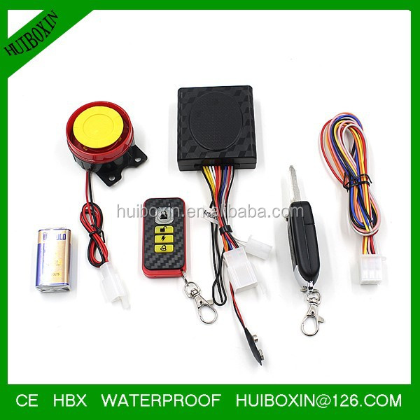 Black 12V Motorcycle Remote Control Anti-theft Vibration Alarm System