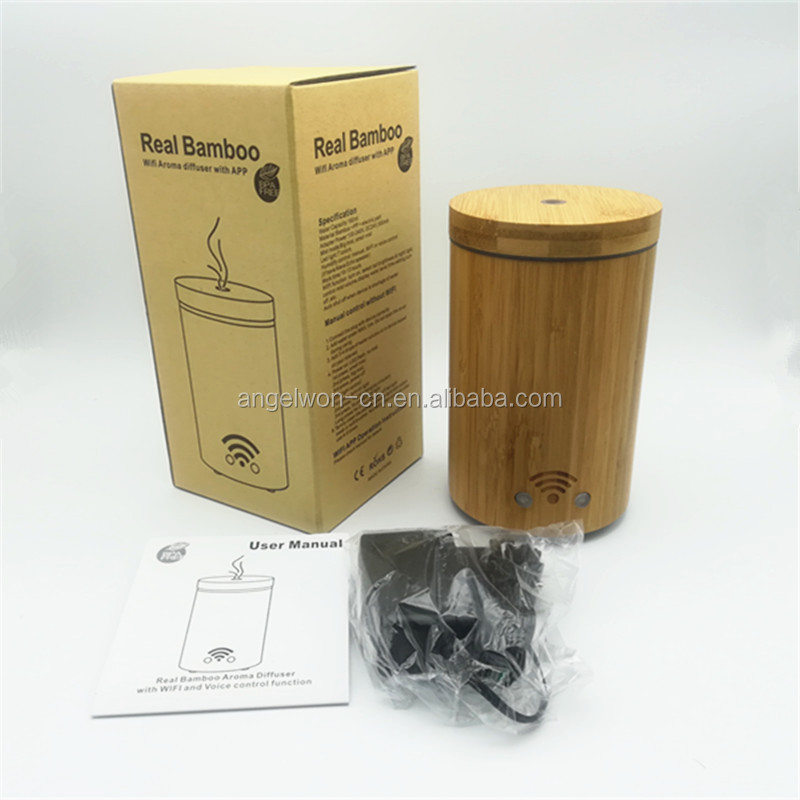 Amazon China supplier real bamboo WIFI Alexa diffuser google play compatible APP humidifier with 7C led light