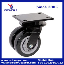 Heavy duty 4 inch swivel mounting caster black double wheels