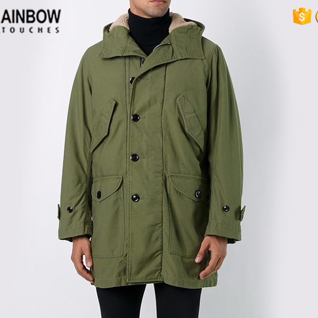 New Custom Mens Long Design Flap Pocket Winter Hooded Parka Coat In Khaki