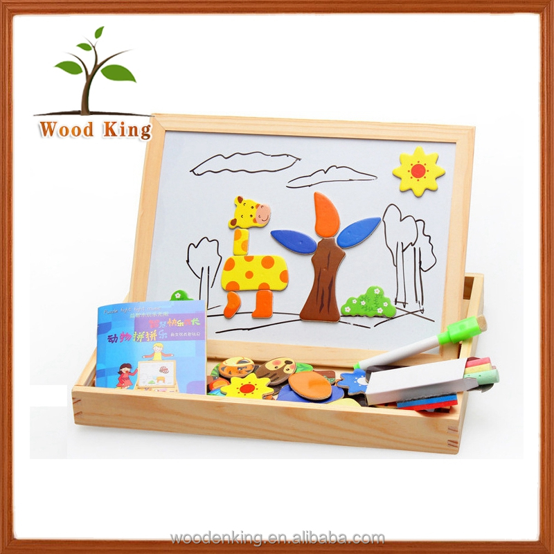 Multi-Functional Animals Spell Double-Sided Drawing Board Learning Box 3d Wooden Block Jigsaw Magnetic Puzzle For Kids